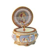 Resin luminous carousel music box happy birthday Christmas wedding gift carousel horse retro music box home decoration crafts