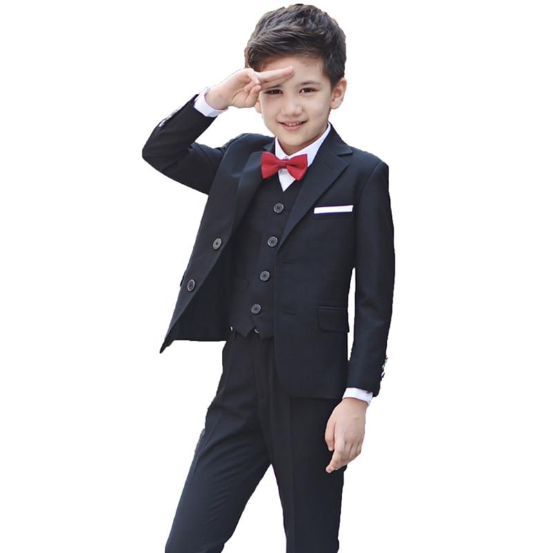 Boys BlackBlazer 5 pcs/set Wedding Suits for Boy Formal Dress Suit Boys wedding suit Kid Tuxedos Page boy Outfits 5pieces