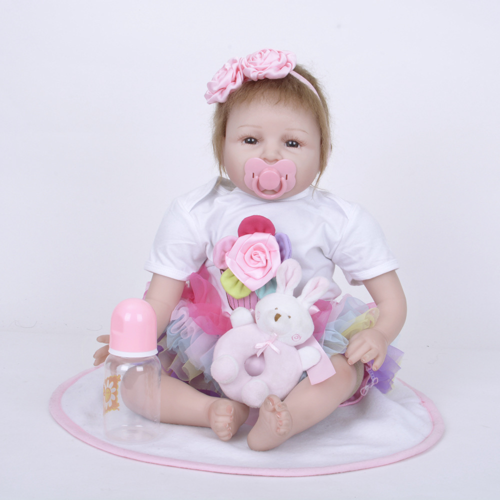 55cm Cute Newborn Baby Doll Soft Silicone Lovely Reborn Princess Girl Doll with Cloth Body for Kids Toy Birthday Christmas Gift lovely christmas reborn doll silicone 16inch newborn baby doll realistic toddler doll kids birthday gift