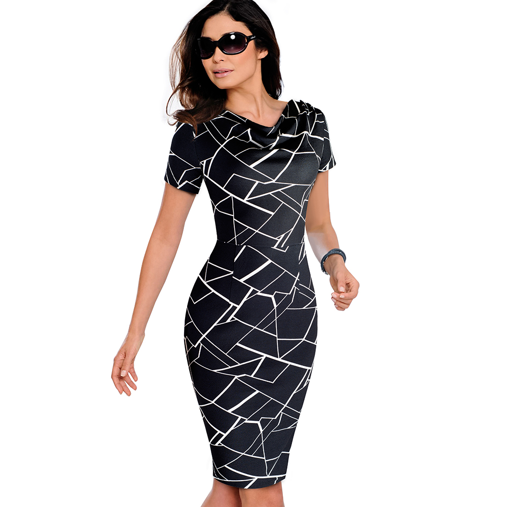 Nice-forever Women Vintage Wear to Work Elegant vestidos Business Party Bodycon Sheath Office Ruffle Female Dress B452 29