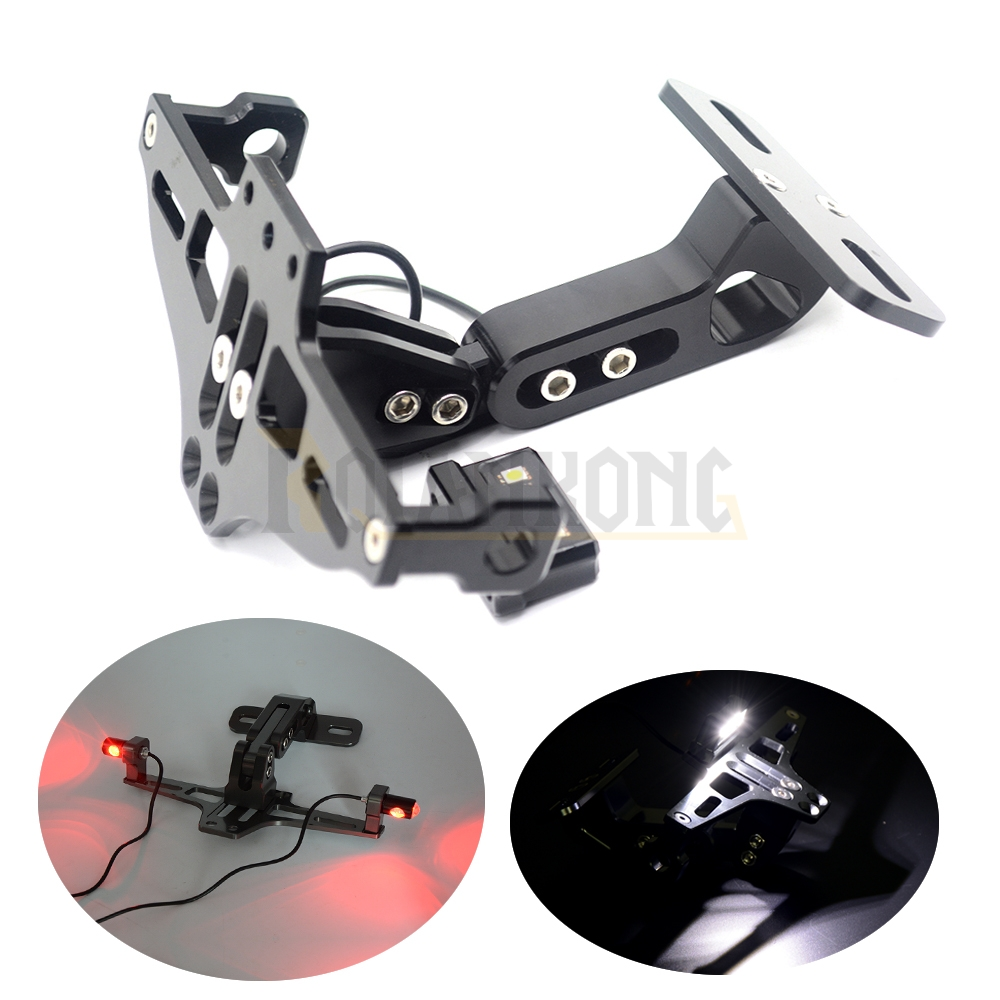 Motorcycle  Aluminum Rear License Plate Mount Holder with LED Light For Kawasaki W800/SE Z1000 Z1000SX SX Tourer  Z250 Z125 cnc aluminum motorcycle rear license plate mount holder with led light for kawasaki ninja zx6 zx6r zx7r zx9r zx12r zx14r zx500r