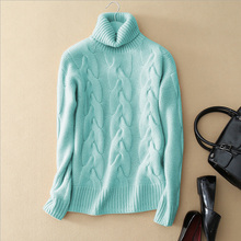 5 colors 100% pure cashmere knitting thick pullover sweater turn down collar long sleeves winter women's clothing