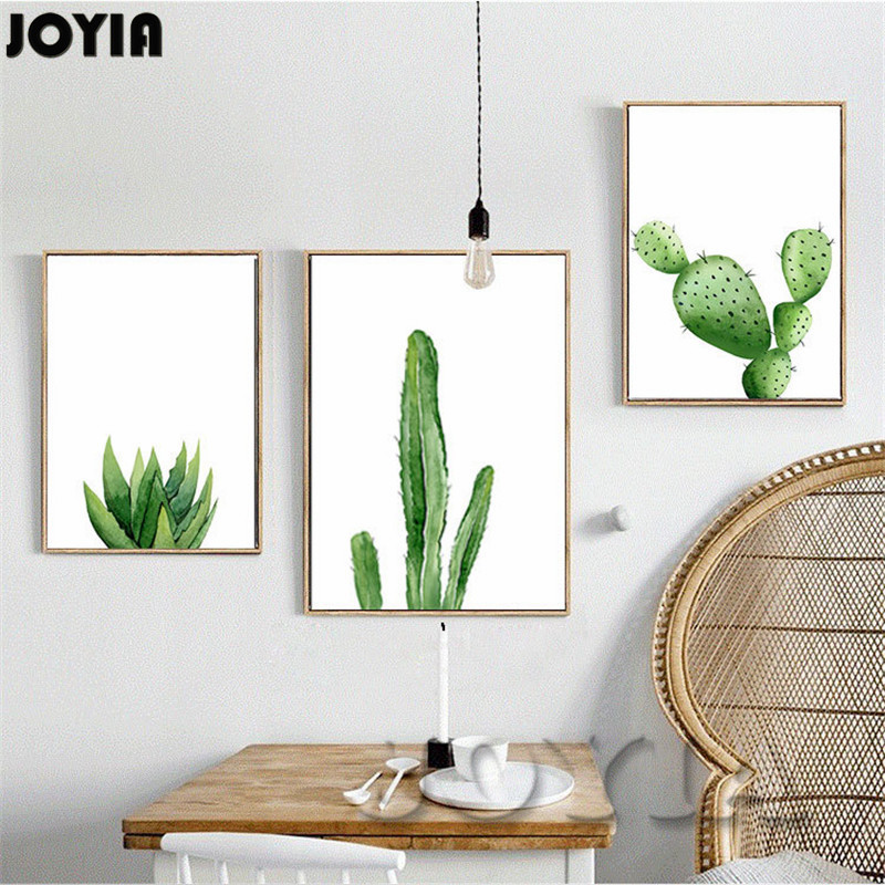 Buy Green Cactus Wall Art Picture Home Decoration Modern Watercolor Canvas