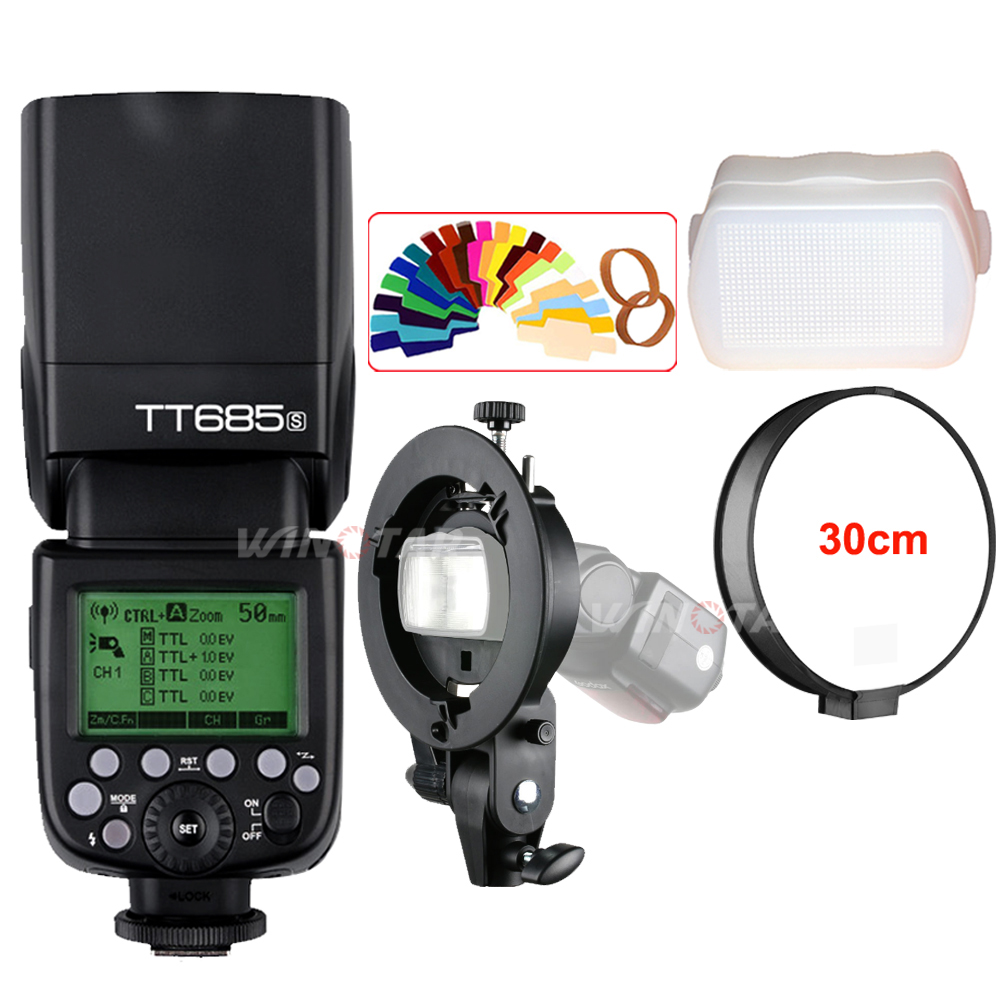 Godox TT685S GN60 TTL Flash Light Speedlite 230 Full Power Auto/Manual Zooming For Sony + Bowens S-Type Bracket +Gift