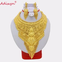 Adixyn India Plus Big Size Tassels Necklace Earrings Jewelry Set Gold Color Arab Dubai Bridal Wedding Party Gifts N031312