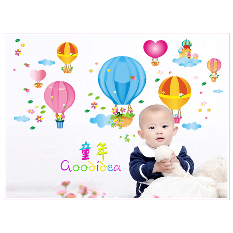 hot air balloon Removable wall stickers environmental protection kids bedroom wall sticker AY651
