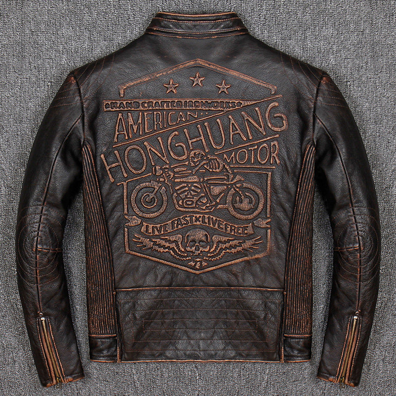 Vintage Genuine Leather Jacket Men Real 100% Real Cow Motorcycle Biker Pilot Baseball Casual Male Winter Warm Brown Leather Jack 1
