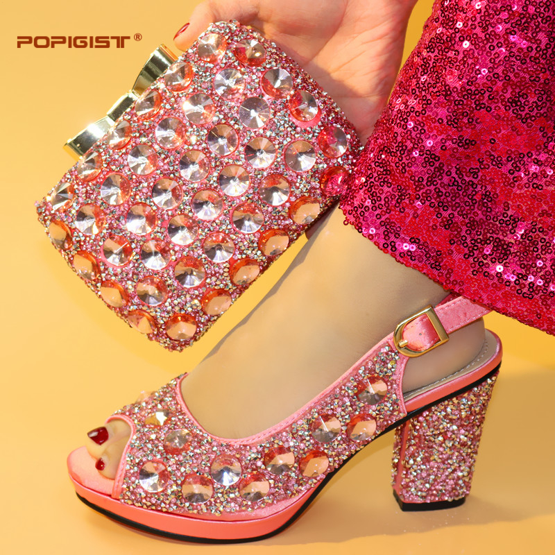 Pink Color Fashion Italian Shoes With Matching Bags Set For Wedding And Party African Shoes And