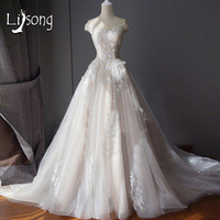 Off Shoulder A Line Chapel Train Wedding Dresses Long Vestido De Noiva Illusion Bridal Formal Dress