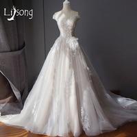 Blush Pink Lace Wedding Dresses Royal Hemline Bridal Formal Gowns Romantic Simple Classic Womens Wedding Maxi Gown Vestidos Noiv
