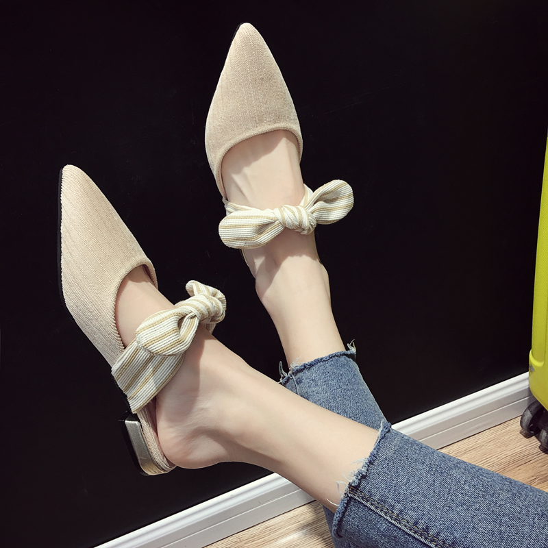 2019 Spring Genuine Leather Bowknot Pointed Toe Flat Woman Slippers Slip On Butterfly Loafers Mules Flip Flops Casual Shoes in Slippers from Shoes