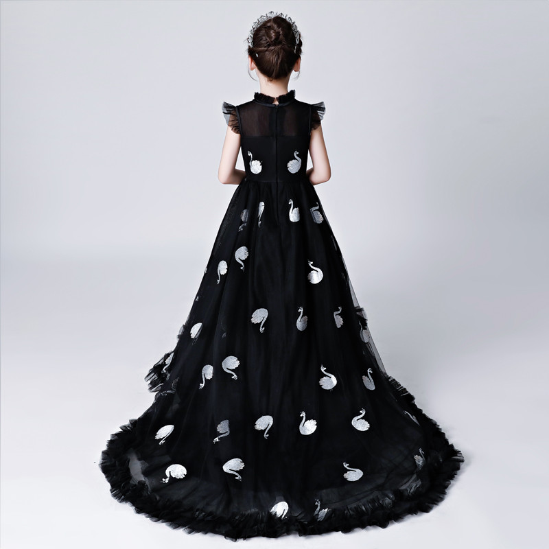 2018 High Quality Children Girls Luxury Evening Party Model Show Catwalk Long Tail Dress Teens Toddler Piano Costume Host Dress high quality 2018 girls dress children princess dress fluffy yarn girls show caterpillar evening dress birthday host piano