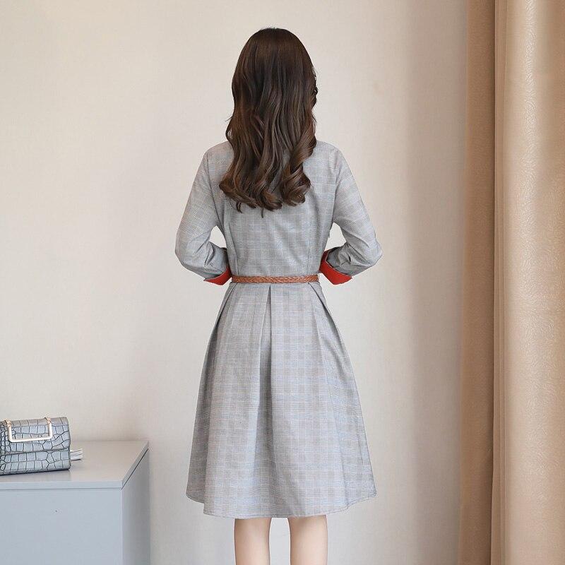 Office Manches Chemise De A Robes Poche ligne Poignet Vintage Genou Longueur Automne Élégant Robe Femmes Patchwork Argent Lady Plaid w5fACq5