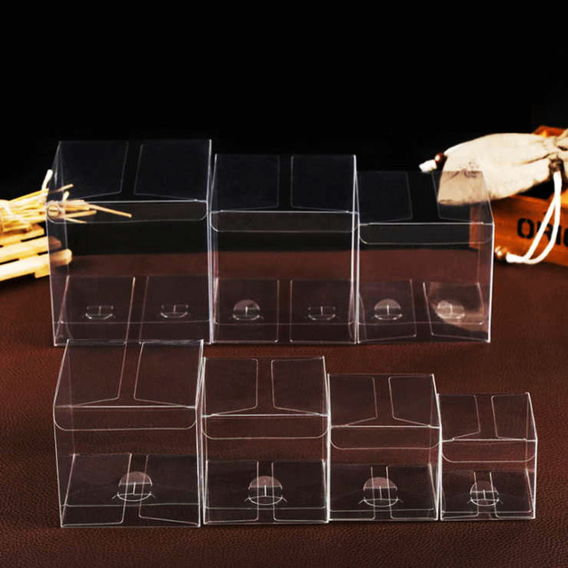 30pcs Lot Many Sizes Clear Pvc Box Transparent Storage Boxes Party Gifts Packaging Box Square Small Plastic Gift Boxes