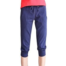 2016 Women Fit Pants Leisure Thin Knee Length Women Capris Pants Summer Slim Casual Leisure Harem Pants Plus size S-XL 4 Colors