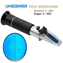 Handheld Refractometer 25-40% Sugar 0-25% Alcohol Concentration Optical Wine Content Meter Mini ATC Measuring Tester