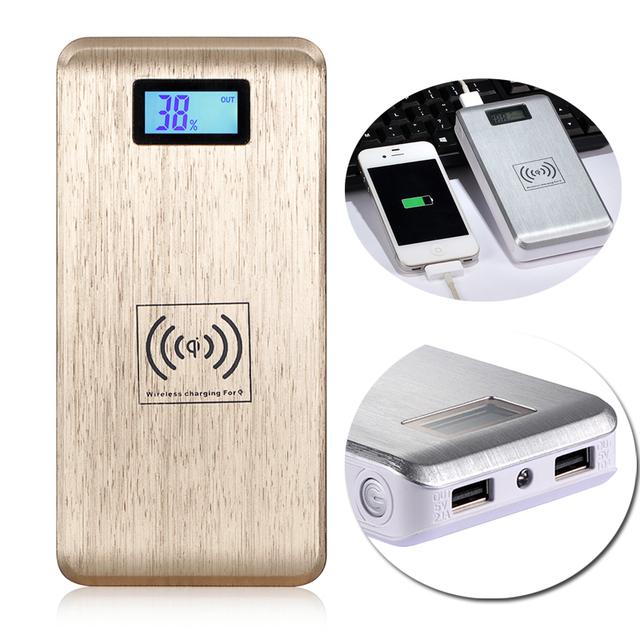 12000 mAh Banco de la Energía Con El Cargador Inalámbrico Qi Paquete Inteligente de Doble Puerto USB Cargador de Batería Externo Móvil Powerbank Alta Capacidad