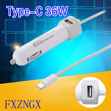 36W USB Laptop Car Charg 5V 3A 9V 3A 12V 3A 15V 2.4A For Macbook 12″ A1534 A1540 Type-C Laptop Mobile Phone Adapter 5.1V 2.1A