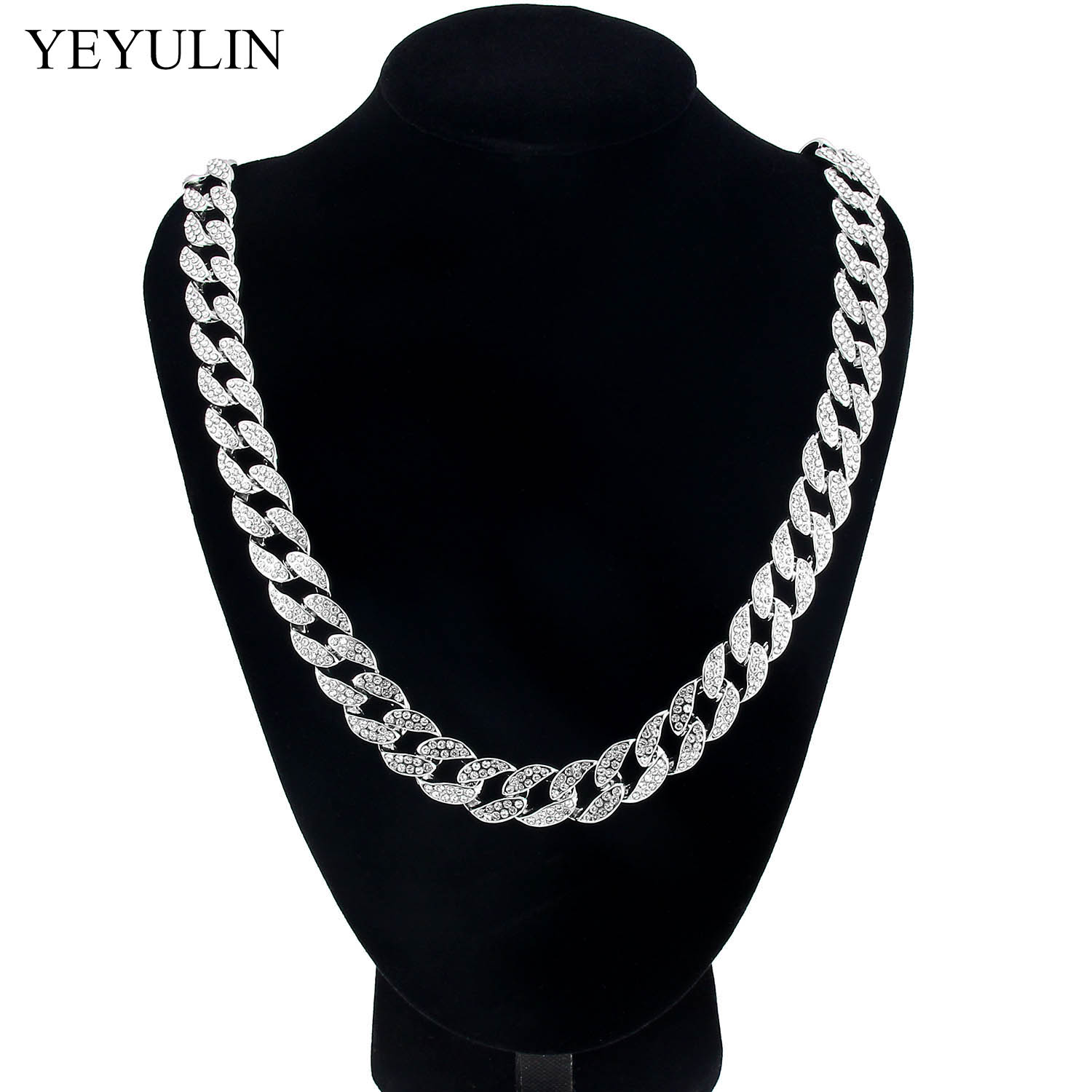 Candid Hip Hop Curb Cuban Link Bling Chain Necklace With Silver Plated Golden Color Crystal Trendy Jewelry Gift For Men Women Wedding Let Our Commodities Go To The World