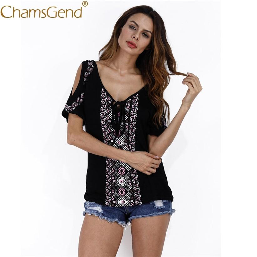 Chamsgend T Shirt Lady Fashoin V Neck Jacquard Print Sexy Off Shoulder Black Shirts Women 2018 Summer Tees Tops 80119