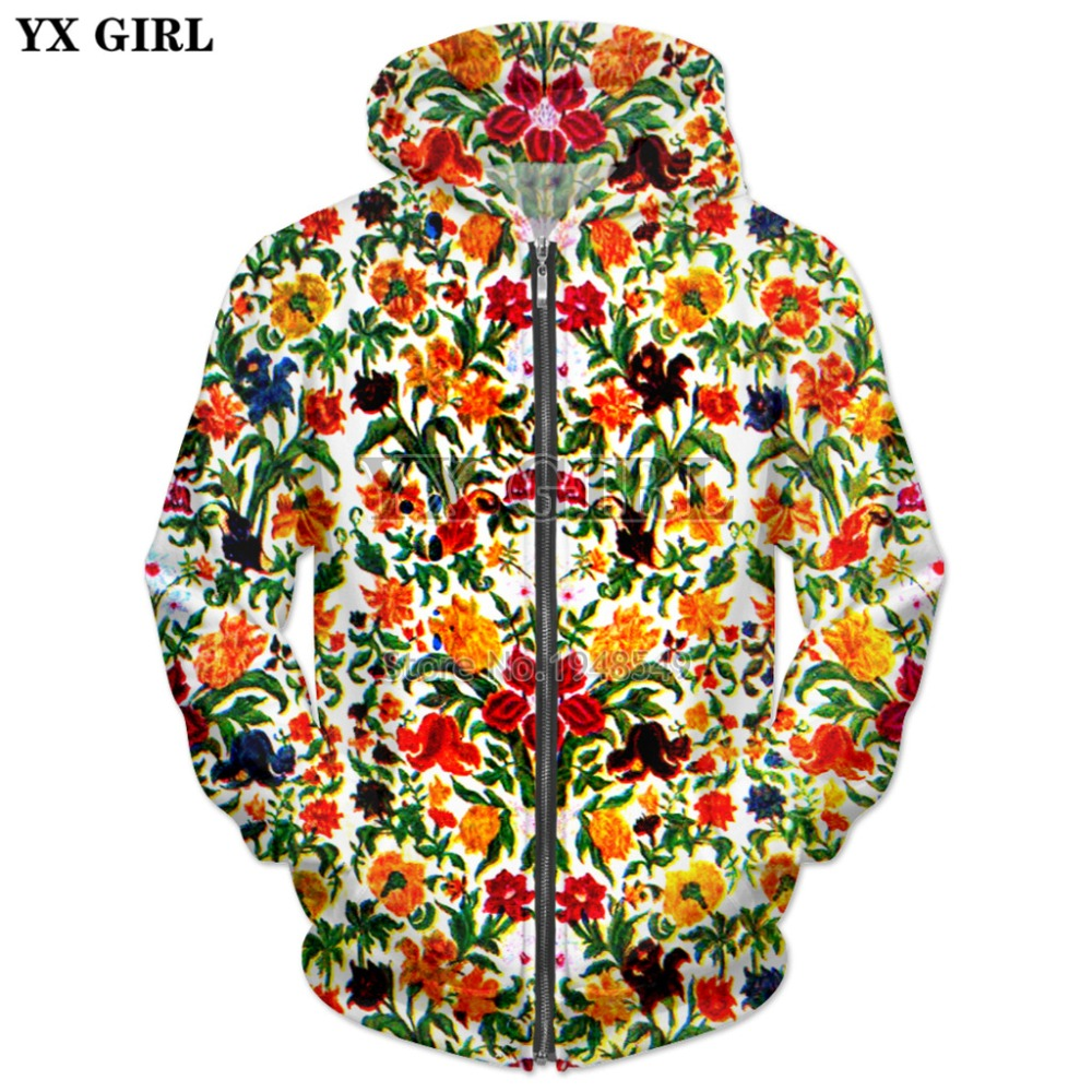 YX RAGAZZA trasporto di Goccia 2018 Nuovo Modo di estate Mens Zipper Hoodie Wildflower Giardino 3D Uomini di Stampa Donna casual felpa Con Cappuccio