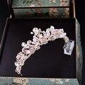 Барокко ручной работы розовый кристалл люкс корона старинные свадебные аксессуары для волос rhinestone диадемы кристалл золотой жемчуг пром тиара
