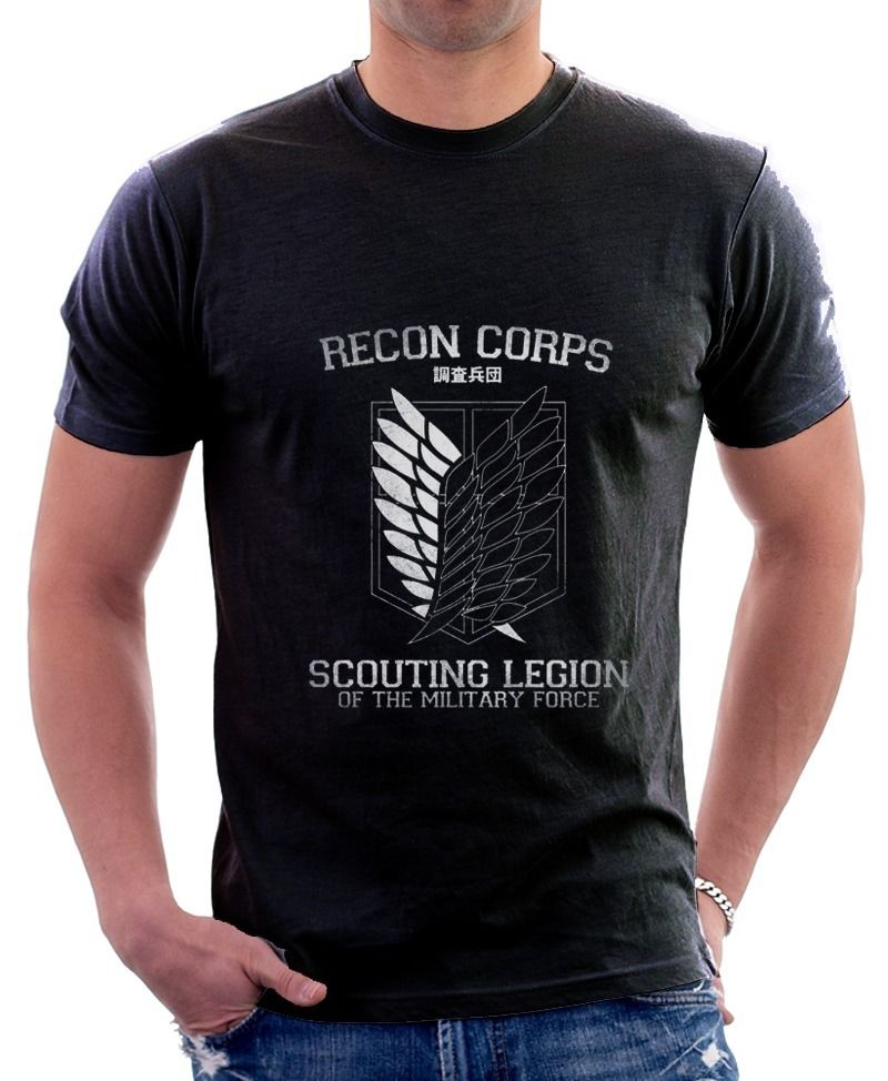 AOT Attack on Titan Recon Corps Printed Cotton T-shirt 9707 Men 2017 Brand Clothing Tees Casual Top Tee  T Shirt