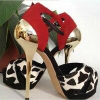 Kaeve стильная женская обувь Leopard Dot конский волос исправленными Bling золота босоножки на высоком каблуке Для женщин на платформе Ремешок на щик...