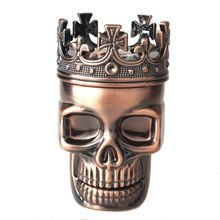 New Arrival Classic Hot King Skull Metal Tobacco Herb Spice Grinder 3 Layers Crusher Hand Muller(China)