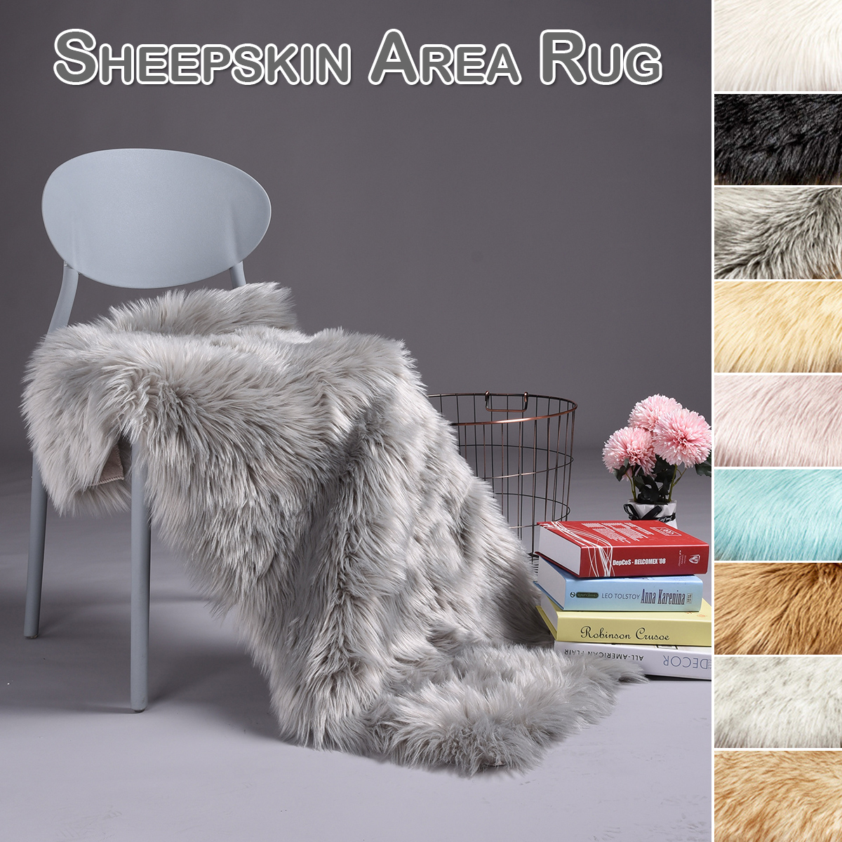 Artificial Wool Carpet Long Hair Rug Chair Decorative Blanket Bedroom Carpet Bedside Bed White Faux Sheep Skin Fur Rug TepeteD30