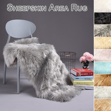Artificial wool carpet long hair rug chair decorative blanket bedroom bedside bed white faux sheep skin fur tepeteD30