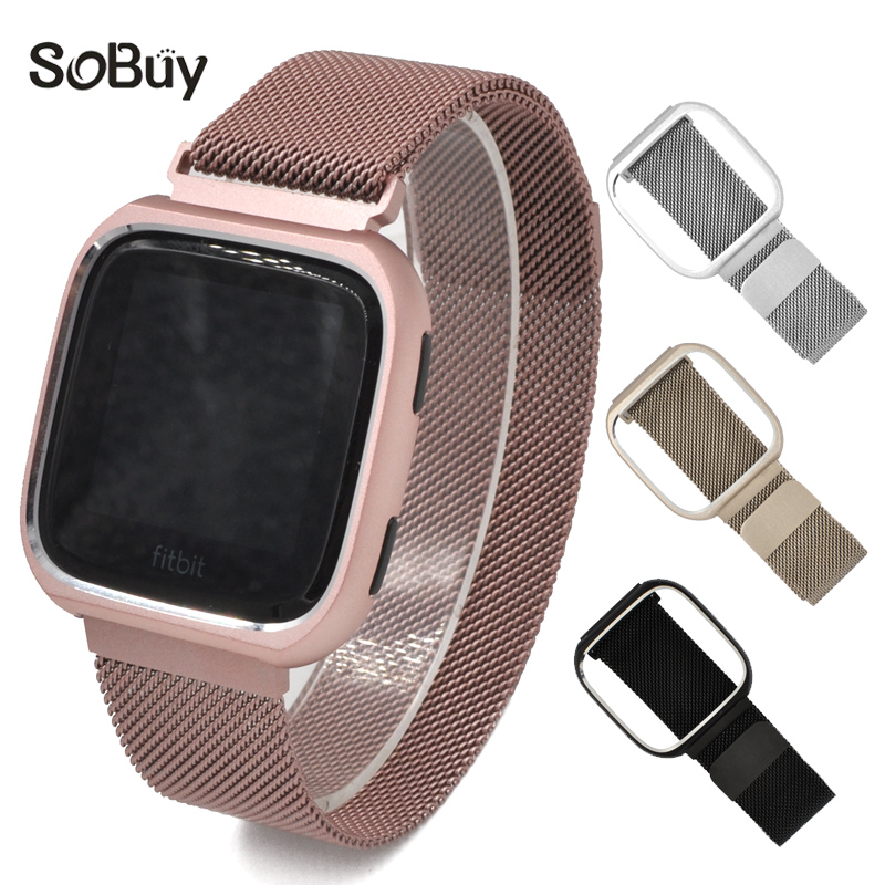 Milanese Loop bands for fitbit versa stainless steel strap sport watchband metal Protective case shell & watch wrist band все цены