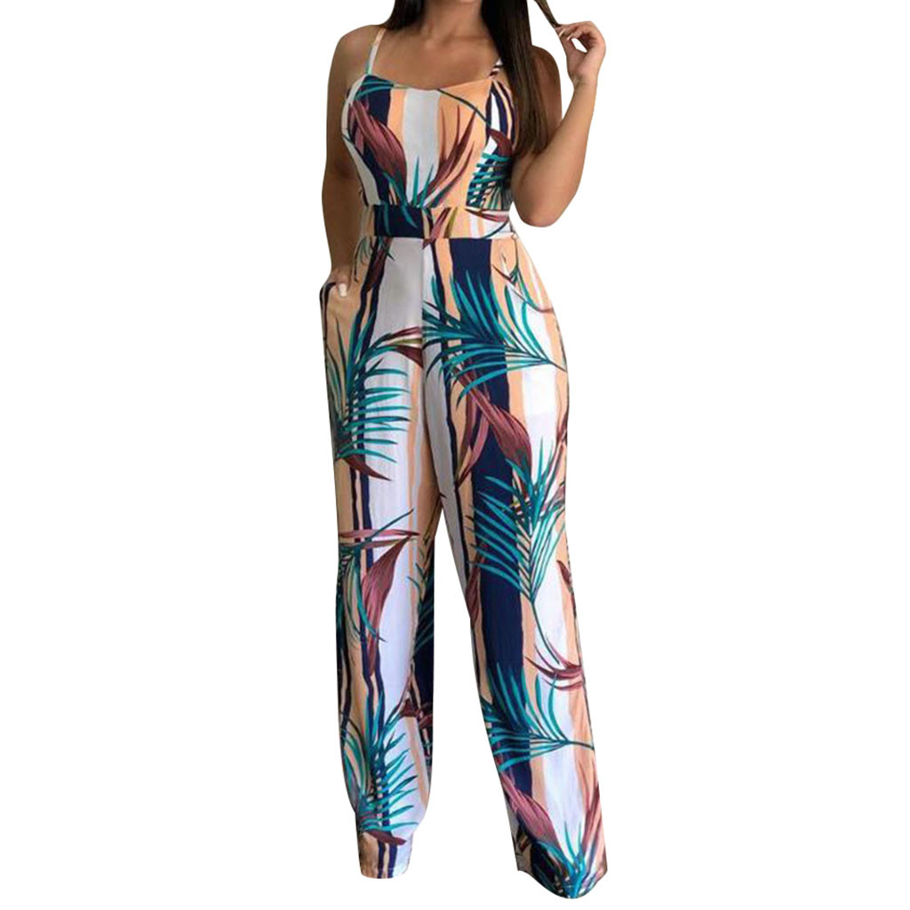 2020 Overalls for women Sleeveless Leaf Print Off Shoulder Sling Jumpsuit Casual Clubwear Wide Leg Playsuit Women's overalls