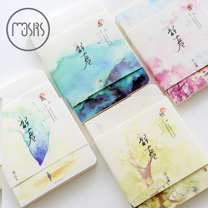 Romantic Vintage Ancient Chinese Painting Style Notebook Blank Pages Stitching Binding DIY Journal Diary Note Book Sketchbook romantic cute flower and cat kittens japanese notebook blank pages stitching binding diy journal diary note book sketchbook