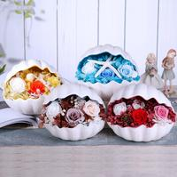 Mixed Preserved Fresh Flowers with Shell Box For Wedding Party Birthday Valentine's Day Gift Favors DIY Bouquet Material
