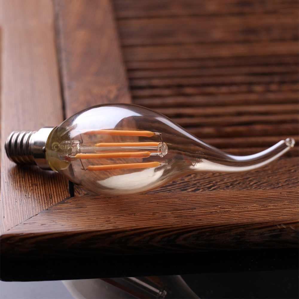 Grensk 4W Dimmable LED Filament Candle Light Bulb 2200K E14 Candelabra Base Flame Shape Bent Tip 25W Incandescent Equivalent C35