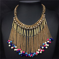 Fashion Long Tassel Choker Necklace Water Drop Collar Necklaces Jewelry Crystal Bohemian Colorful Beads Necklace Women Bijoux