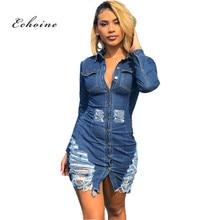 Echoine Denim Dress Women Fashionable Hole Pockets Single Button Turn-down Collar Female Sheath Casual Vestidos Street Outerwear