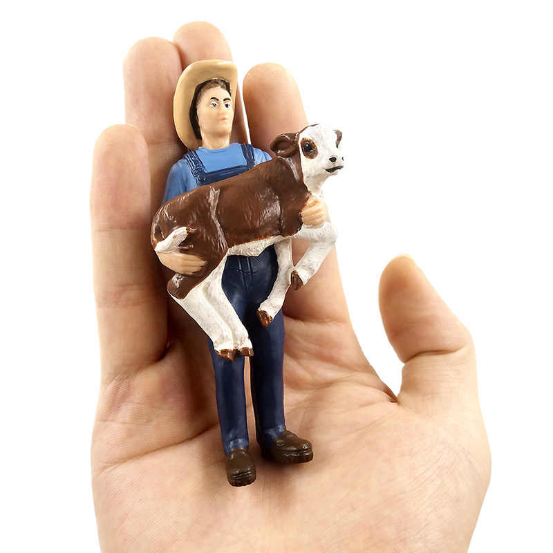 Simulation Farm hold dog sheep Cow pig Farmer people Model figure home decor decoration accessories modern figurine toys statue