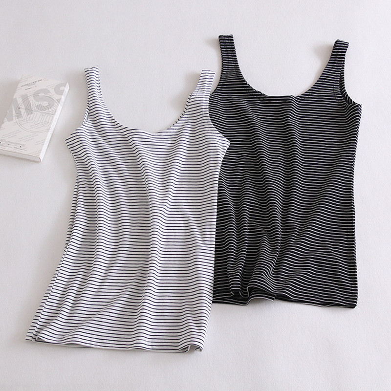 Pure Cotton Women U Vest Black and White Striped   Tank     Top   Female 2016 Summer Slim Fit Singlet   Tops   Ladies Base Vest NT121