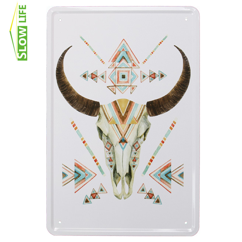 Drop Shipping Bull Skull Nordic Style Wall Decor Metal Sign Vintage Home Decor Tin Sign Metal Plaque Metal Plate Metal Poster