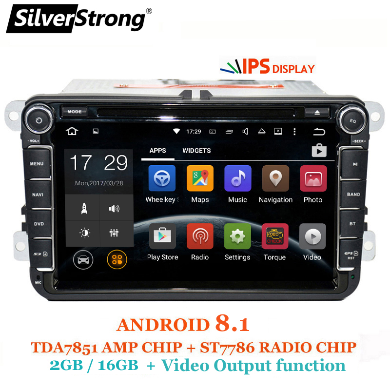 SilverStrong 2Din IPS ANDROID8.1 Voiture DVD pour VW Android pour Volkswagen Passat Tiguan Golf Polo Octavia radio pour Skoda 801