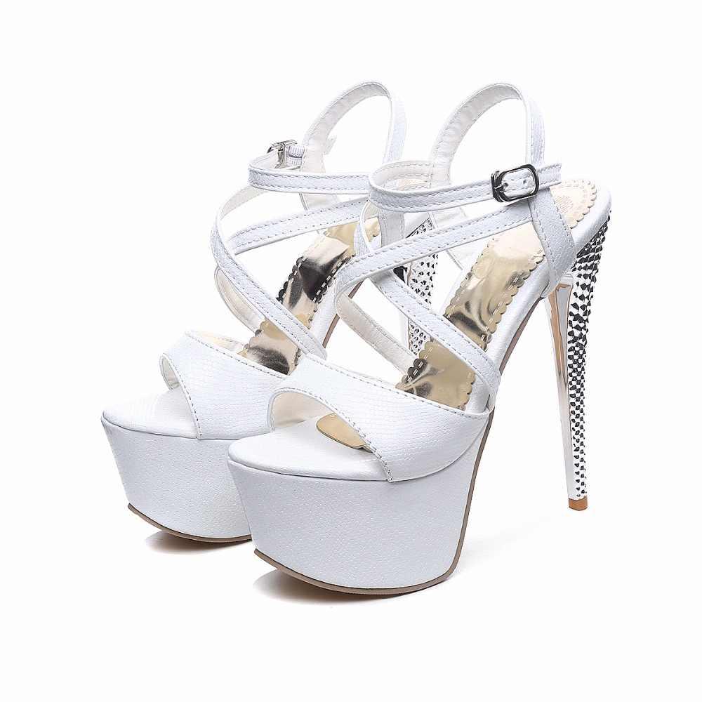 BLXQPYT Büyük Boy 31-48 Sandalet Bayanlar Platform Moda parti ayakkabıları Seksi burnu açık Süper Yüksek Topuk (16 CM) ayakkabı Kadın Pompaları 202
