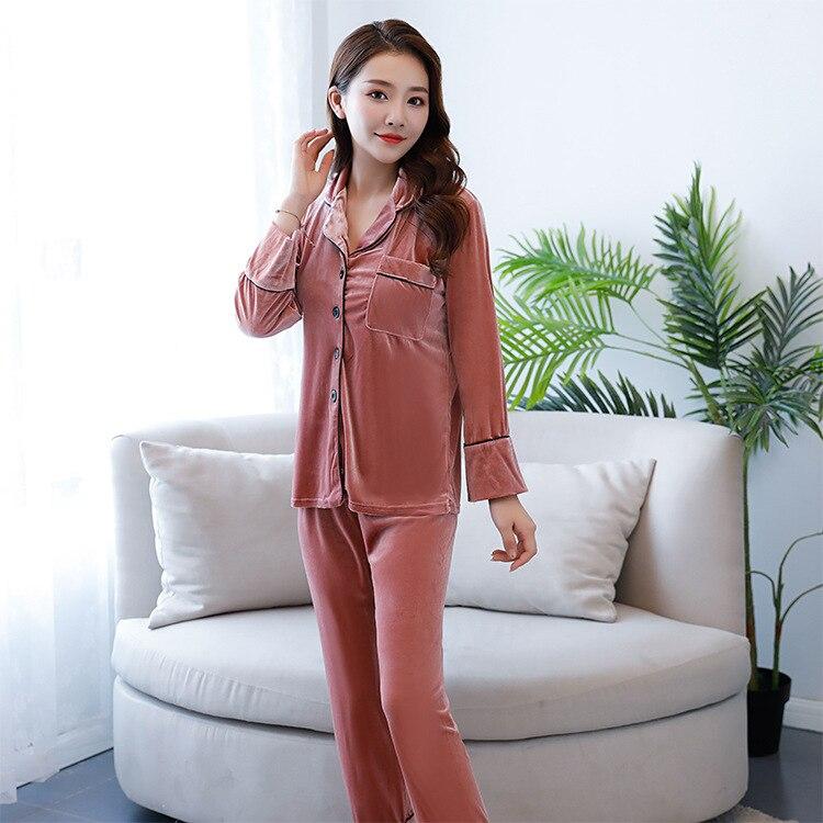 b9d883e390 Nuevo conjunto de Pijamas de Mujer de marca de gama alta de primavera Otoño  de manga larga Pijama de terciopelo dorado ropa de dormir Casual para Mujer  ...