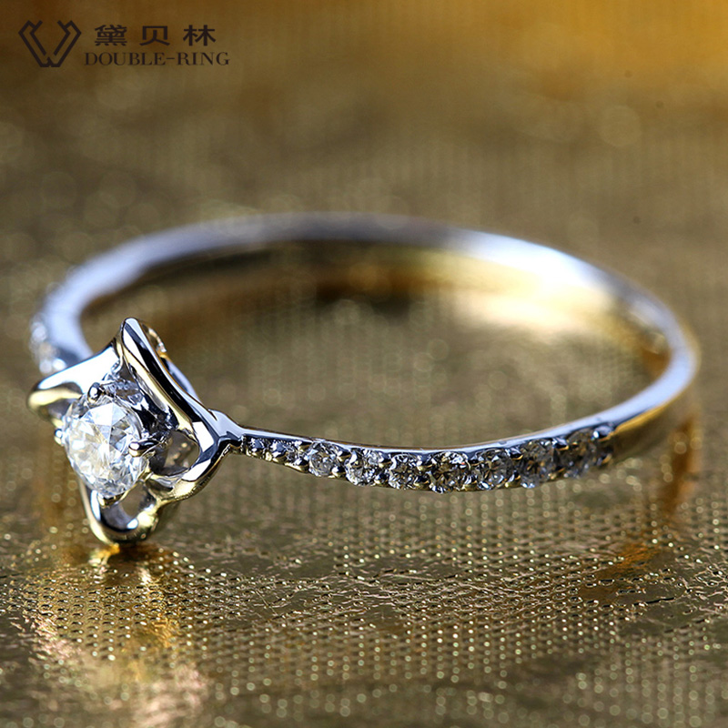 DOUBLE-RING 0.103ct Echt Diamond Solid Pure Real 18 k Gouden Verlovingsring 18 k Gold Wedding Ring Voor Vrouwen