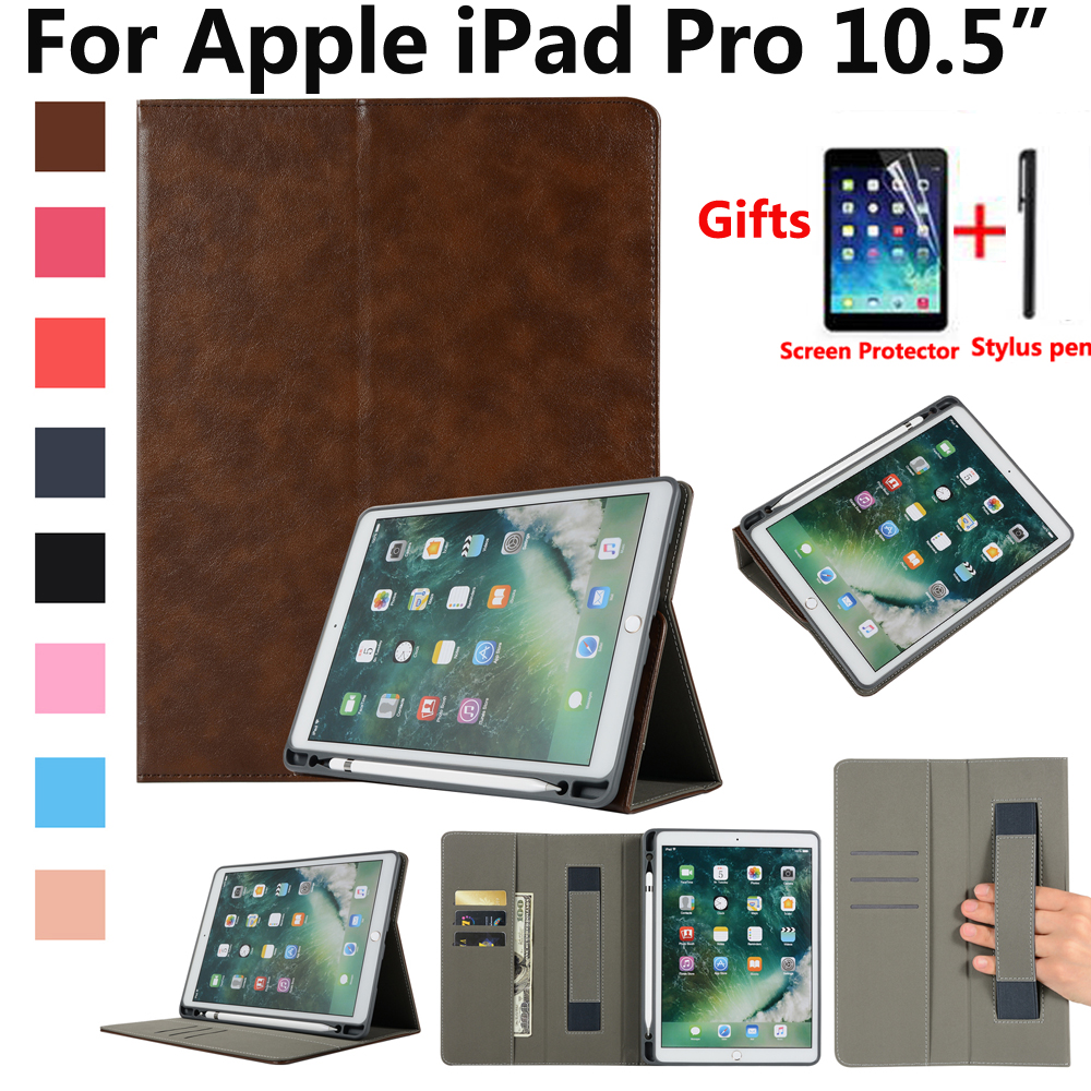 Pencil Holder Case Cover for Apple iPad Pro 10.5 A1701 A1709 Tablet Premium Leather Magnet Smart Skin Shell with Film Stylus Pen ultra slim smart cover protective trid fold stand leather case w pencil holder for apple ipad pro 10 5 inch a1701 a1709 tablet