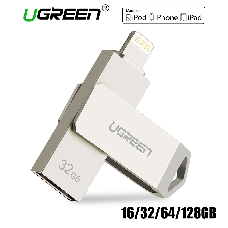 Ugreen USB Flash Drive USB Pendrive para iPhone X Xs 9 8 7 más iPad 16/32/64 /128 GB Memory Stick USB Key MFi Lightning Pen drive