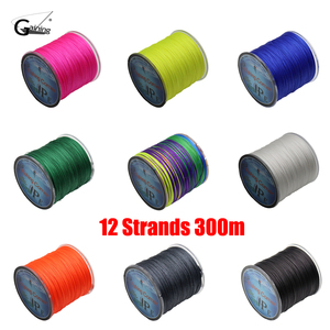 12 Strands Braided Fishing Line 300m Fishing Corner Multi Color Super Strong Japan Multifilament PE Braid Line 35LB To 180LB