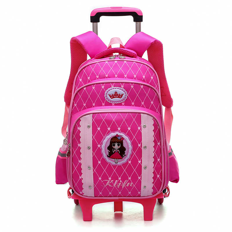 New High Quality girl Trolley schoolbag 6 wheels Climbing stairs children school bags travel luggage rolling Cartoon schoolbag