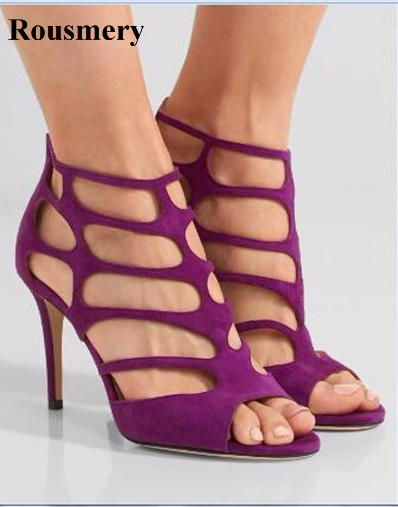 New Design Women Fashion Open Toe Suede Leather Gladiator Sandals Cut-out Red Black Purple High Heel Sandals Dress Shoes fashionable pu leather and stiletto heel design sandals for women